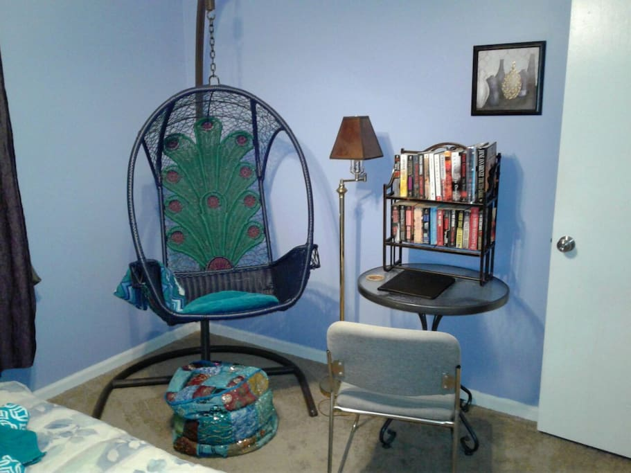 reading area with books for just relaxing or in case you can't sleep