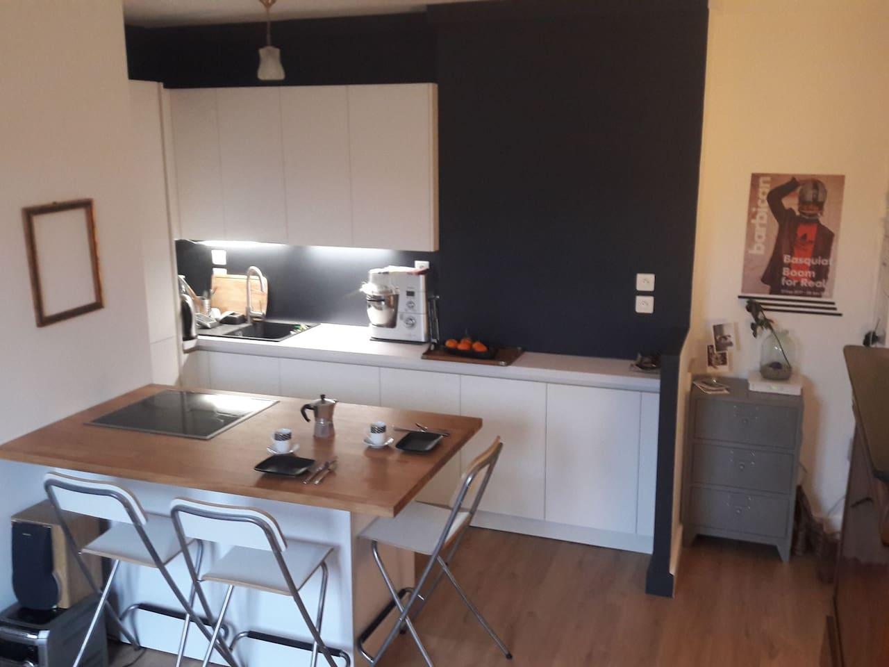 Espace cuisine (frigo, congélateur, 4plaques cuisson vitro) et repas pour 4pers.