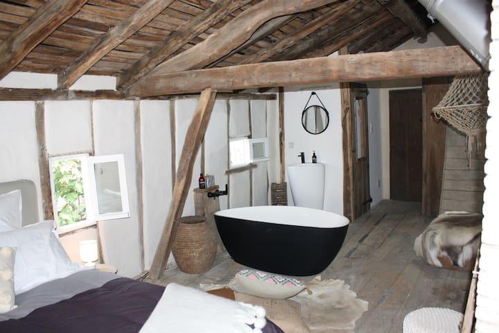 Attic bedroom with bath