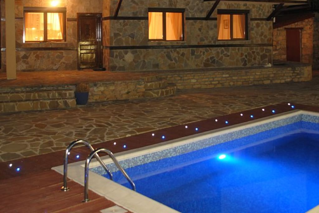 Our villa at night time.