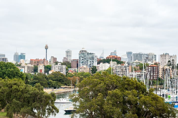 Sunny flat on the park + harbour. Views + balcony. - Darling Point - Lägenhet