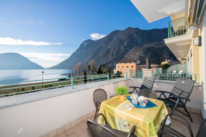Spacious first floor balcony with lake view
