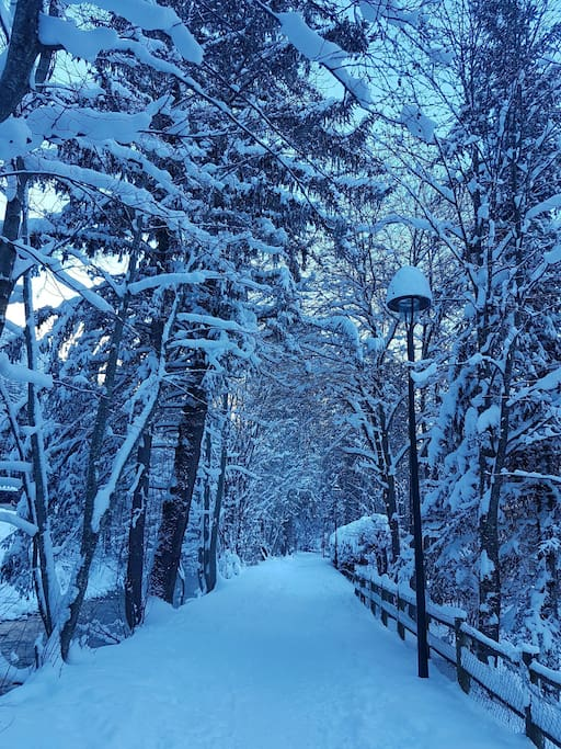 The beautiful snowy riverside path that takes you in to Chamonix.