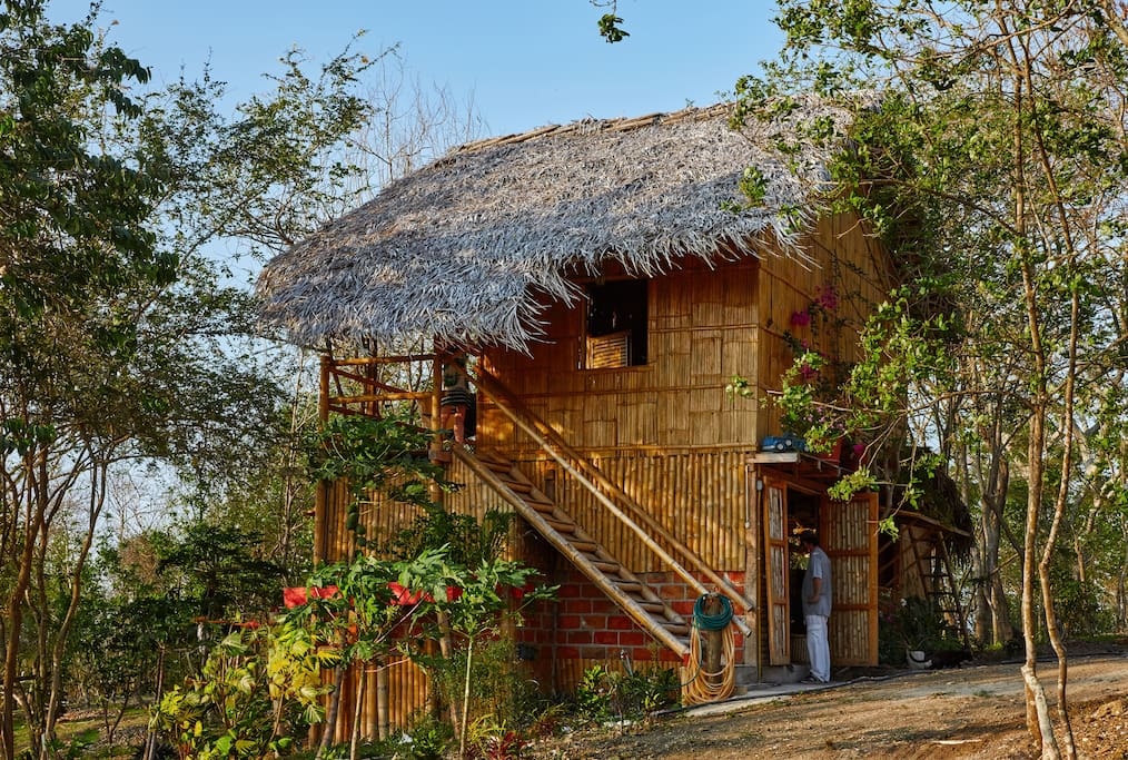 With a treehouse feel, the cabin is also fully equipped with plumbing and a gas stove