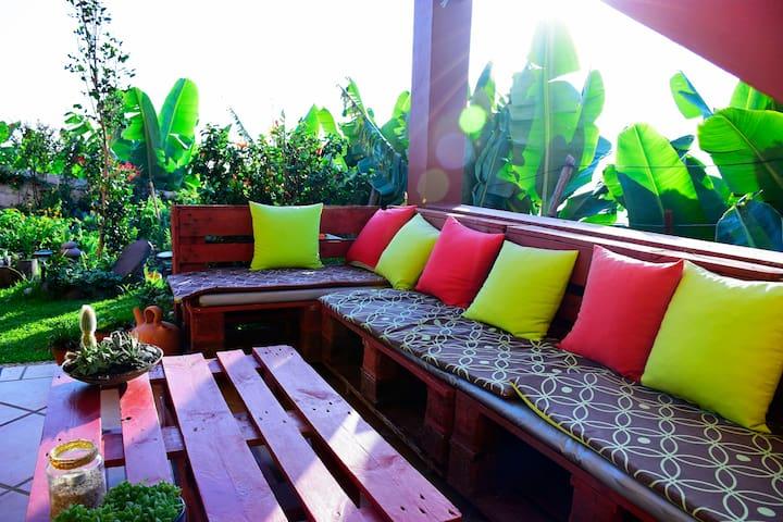 bright studio in house  organic  garden