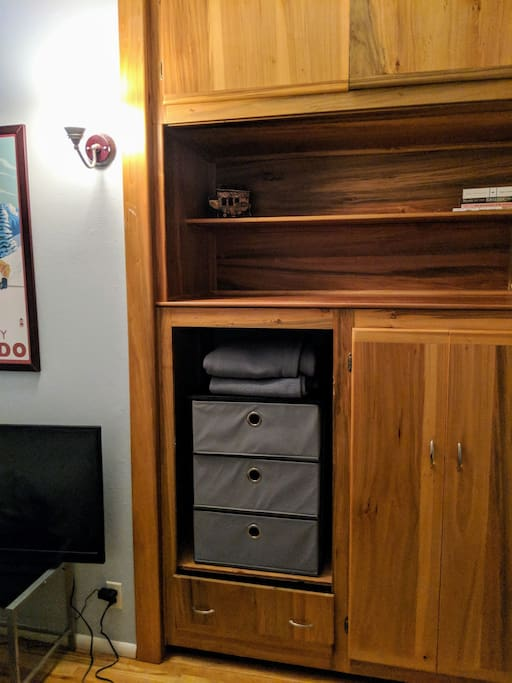 Wardrobe storage in room