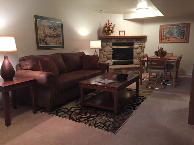 Living room, electric fireplace, dining area