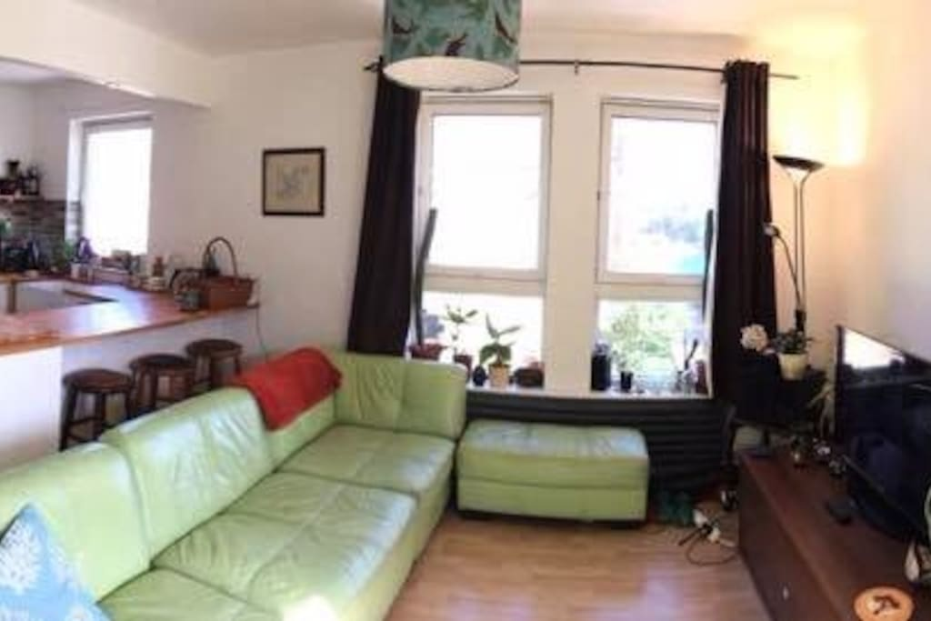 Living room with surround sound system, Tv, large comfy couch and view on Arthurs seat