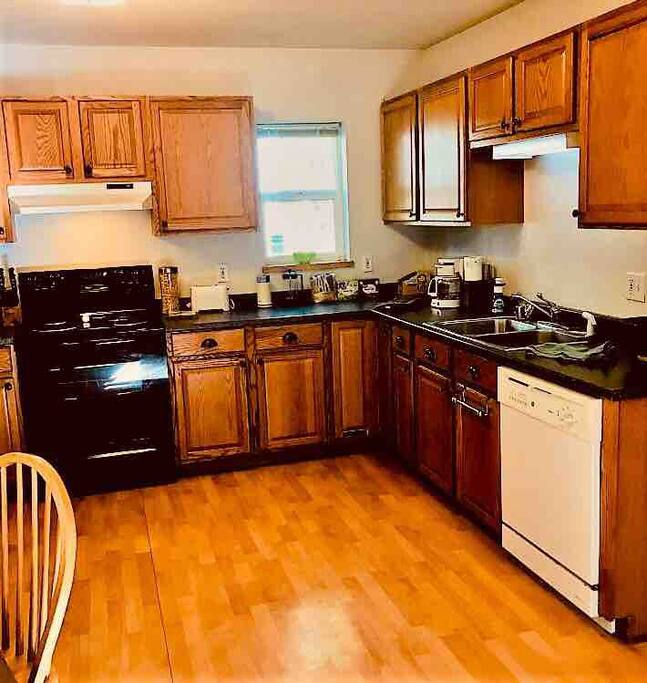 This lovely kitchen is stocked with everything needed for a party of 4!  If you don't find something you need, just let me know and I'll take care of it!