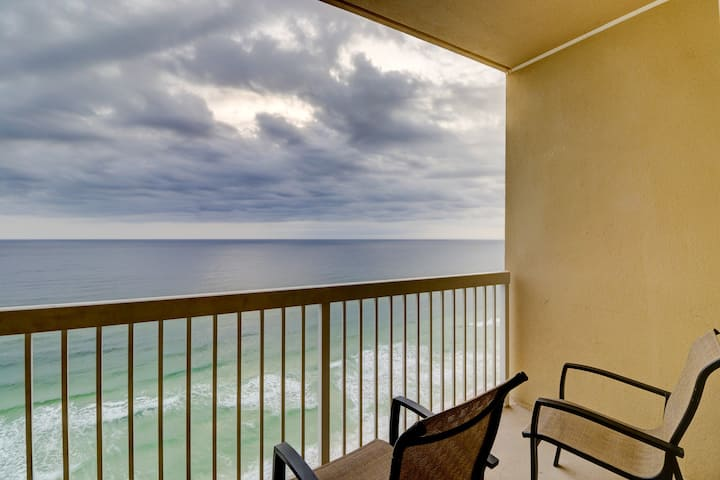 Beautiful beachfront getaway w/ a private balcony, shared pools, & fitness room