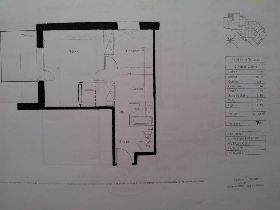 Plan de l'Appartement 103, 1er étage.