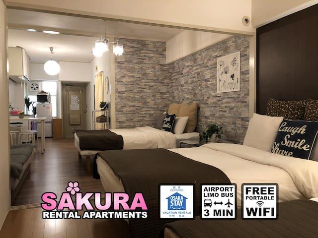 ★3 MIN to JR NAMBA/OCAT★ Free Wi-Fi [Sakura #307]