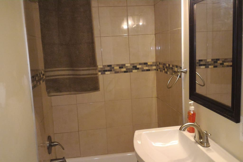 private full bath. small. new built.