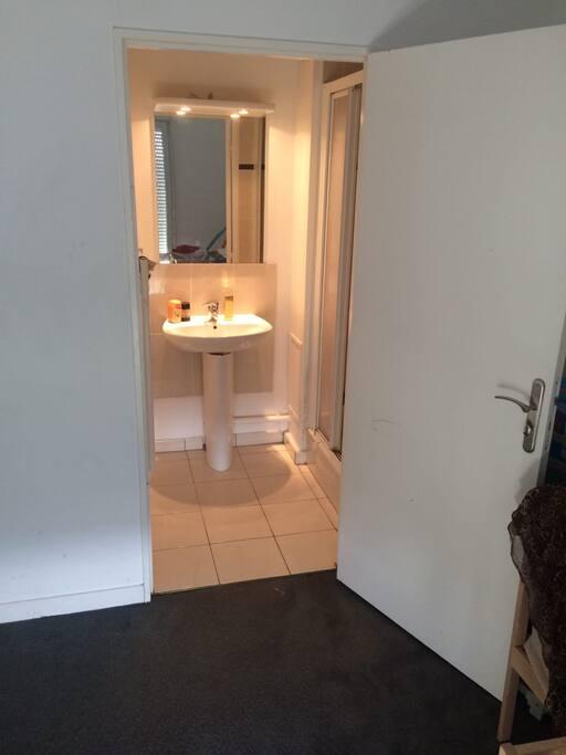 La salle de douche intégrée à la chaambre