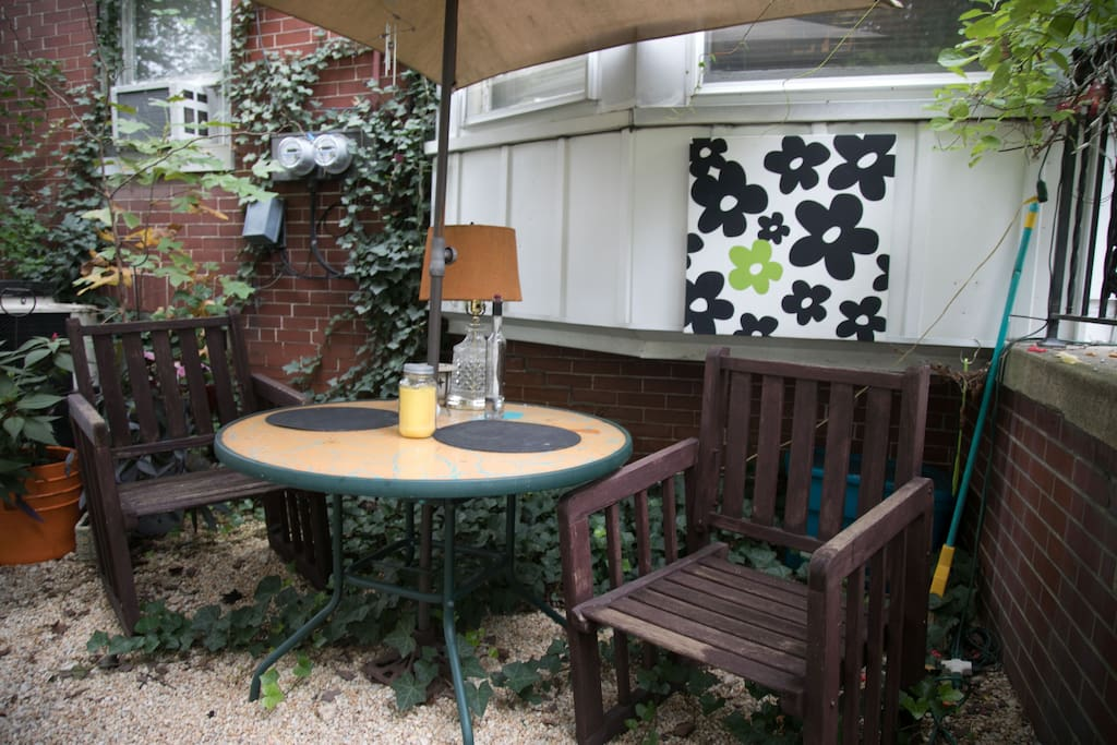 Seating area in private garden.
