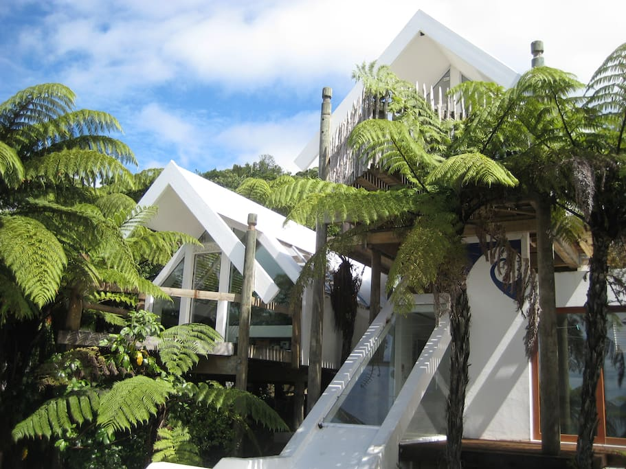 """Your choice of """"whare"""" or suite set amongst native vegetation with breathtaking views to Lake Tarawera and Mount Tarawera"""