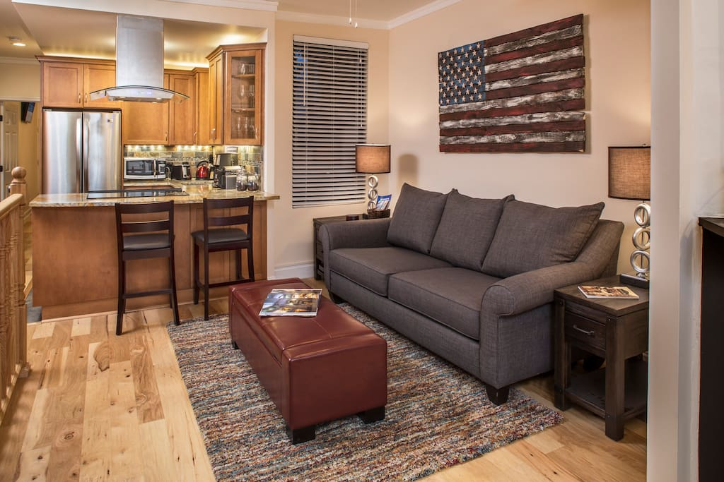 Comfortable living area with all new furnishings and a large LCD satellite TV
