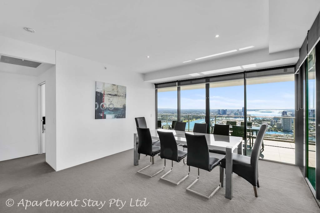 Dining area overlooking spectacular Broadwater from 53 floors up!