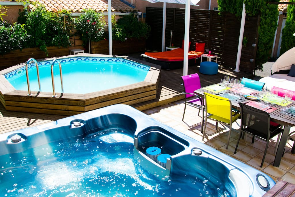 Naturisme villa jacuzzi piscine terrasse jardin c1 for Piscine agde tarif