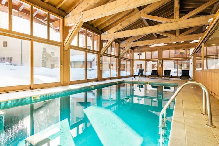 Appartement pour 4 | 20m des pistes + piscine + sauna !