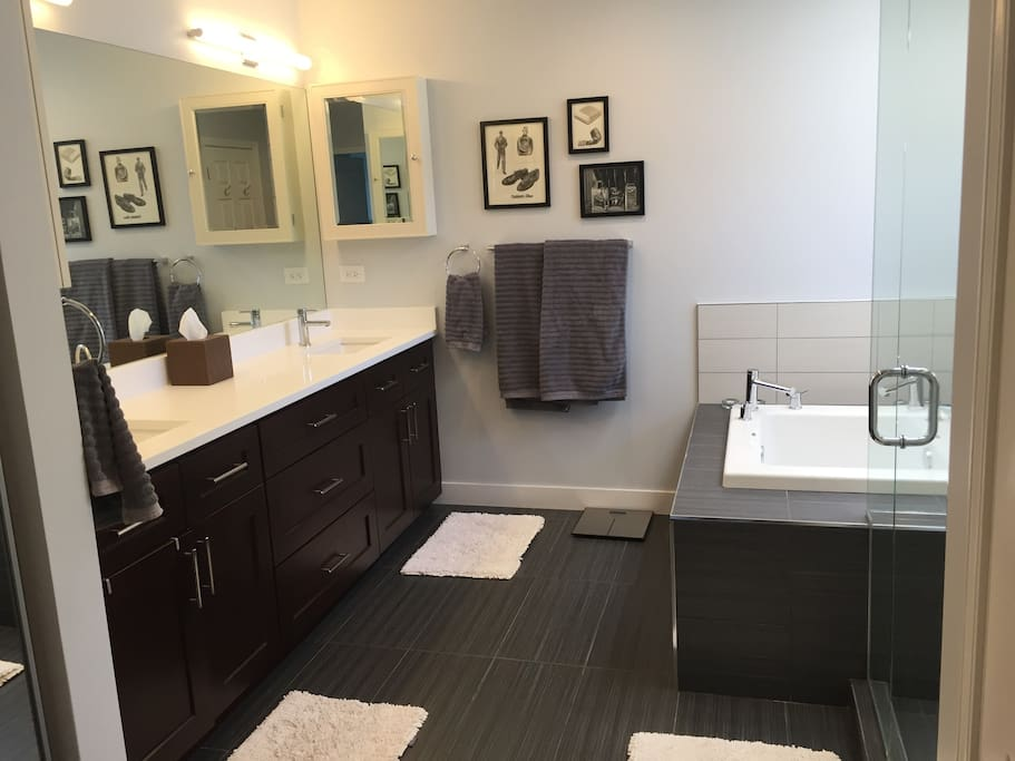 Master bathroom with double sinks.