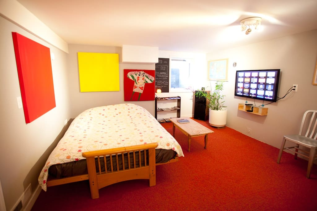First room with option of futon up for lounging, or futon down for parties of 3+