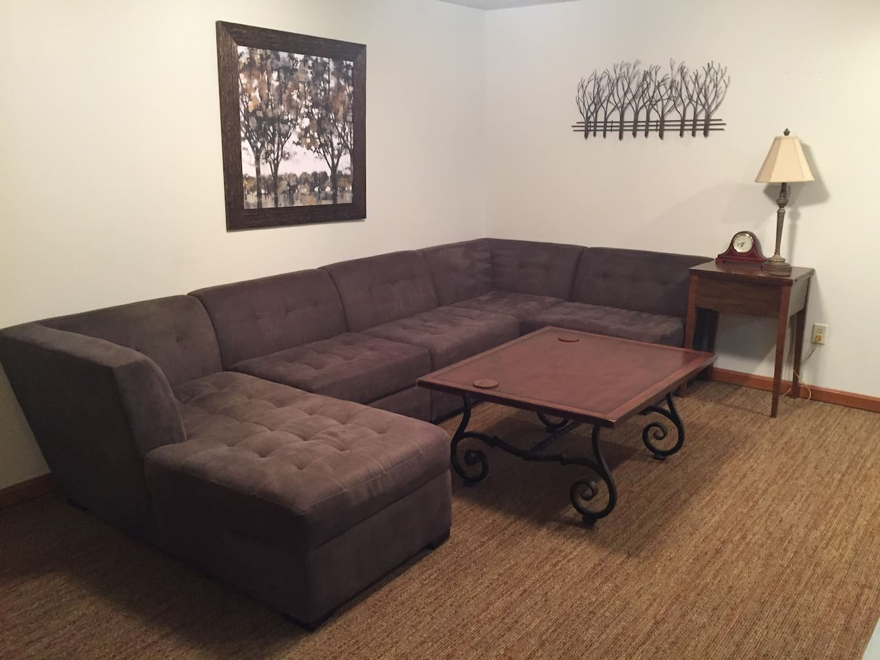 Large sofa that can be rearranged to make full size bed.