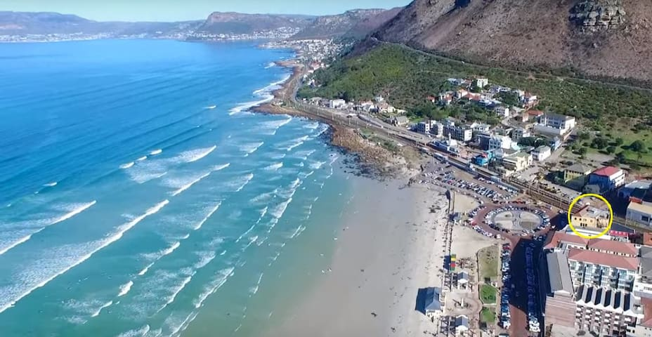 Beautiful Muizenberg from the air. Our location in Yellow circle