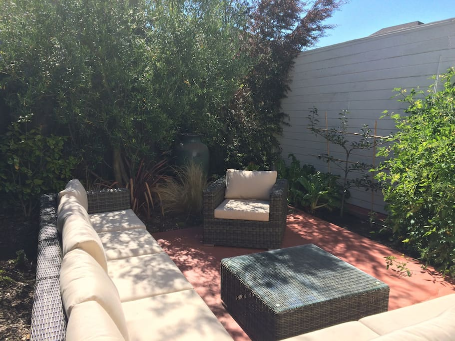 Outdoor living room with olive tree and veggie garden
