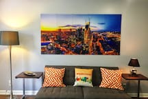 Unwind amid your own view of the Nashville skyline at night