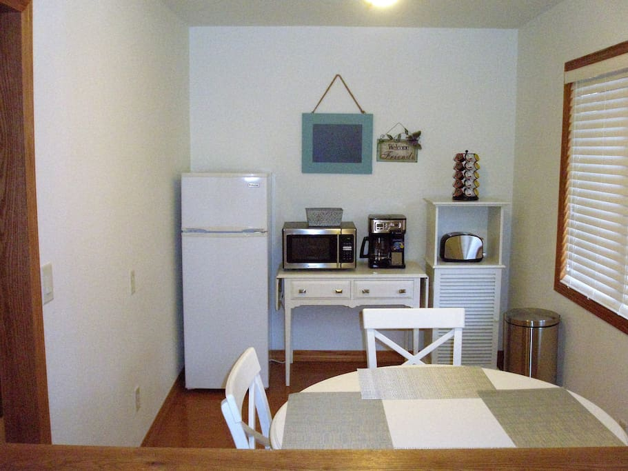 Kitchenette with coffee and snacks
