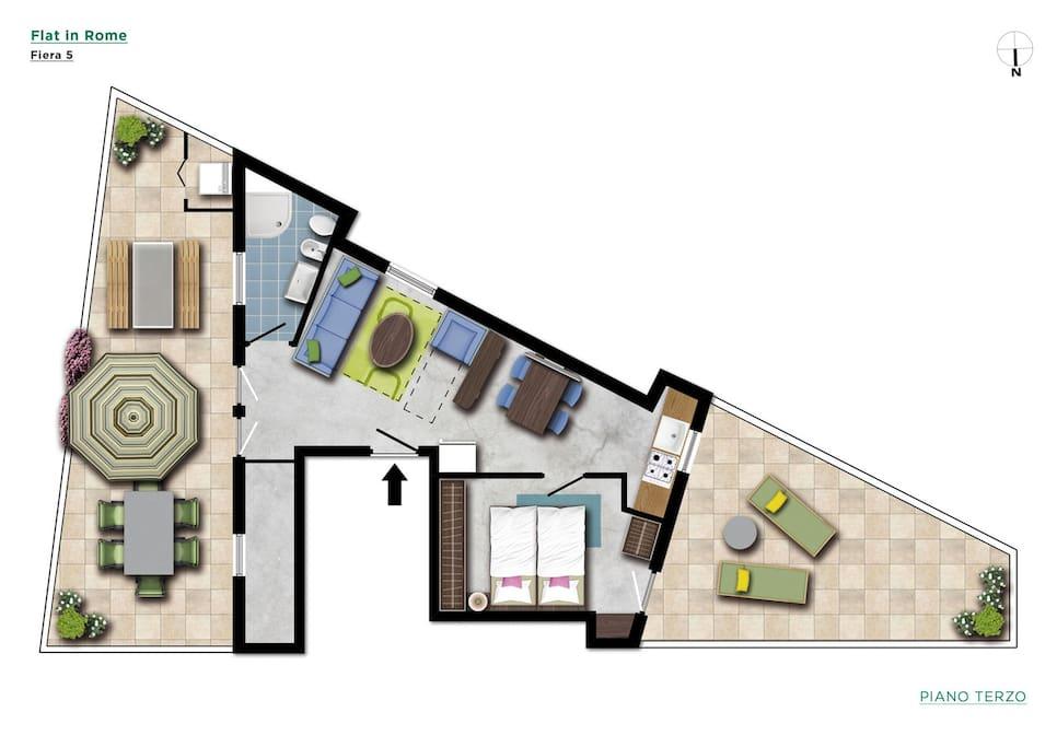 Flatinrome Fiera 5 - floor map