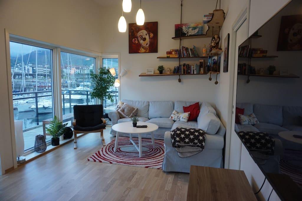 Sofa area and veranda outside