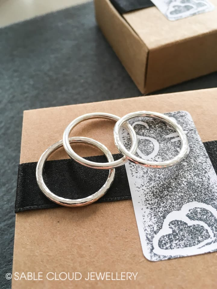 You will make a set of three rings