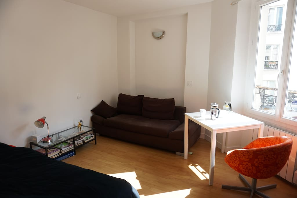 bed, sofa, 3 chairs, 1 table