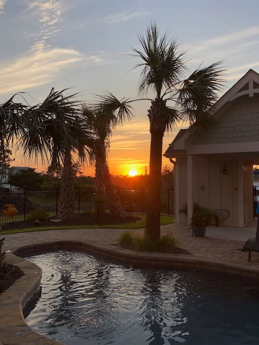Sunset from private hot tub.