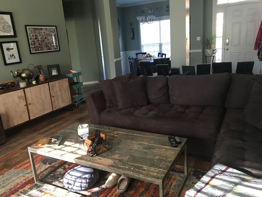 Living room, open to dining room