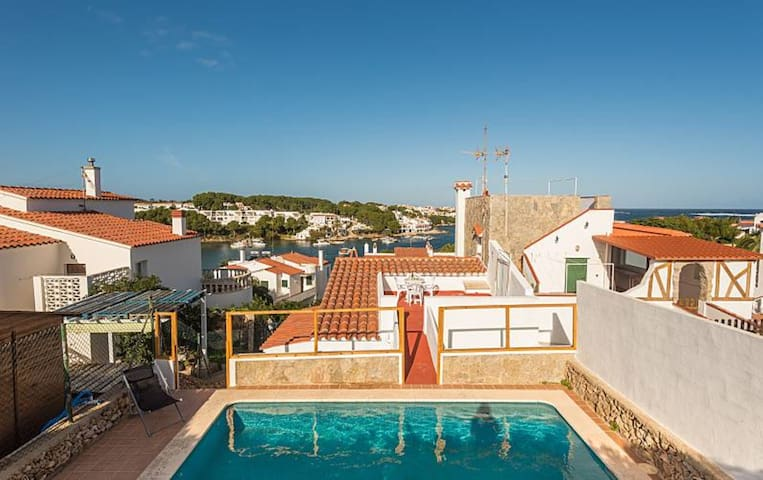 Holiday Home in Menorquin Style with Wi-Fi, Pool with Sea View and Balcony