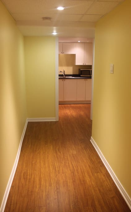 Hallway between bedroom and kitchenette
