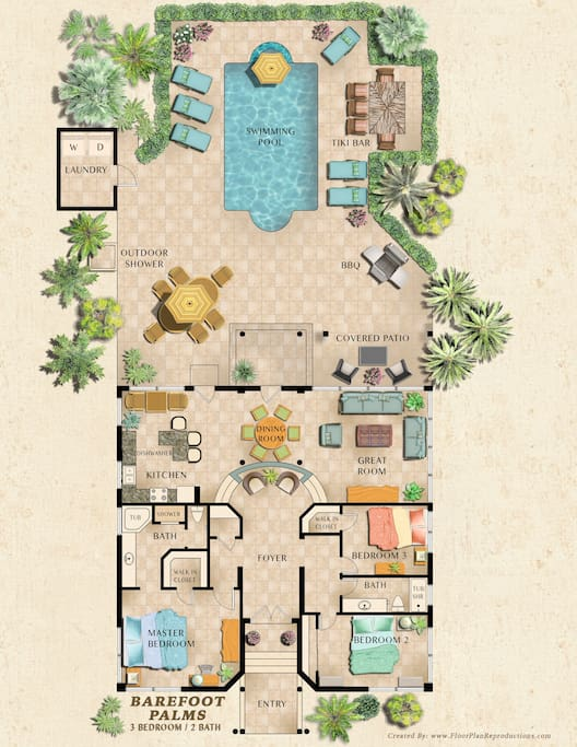 Floor plan--need a crib rental?  Master and front bedroom can accomodate