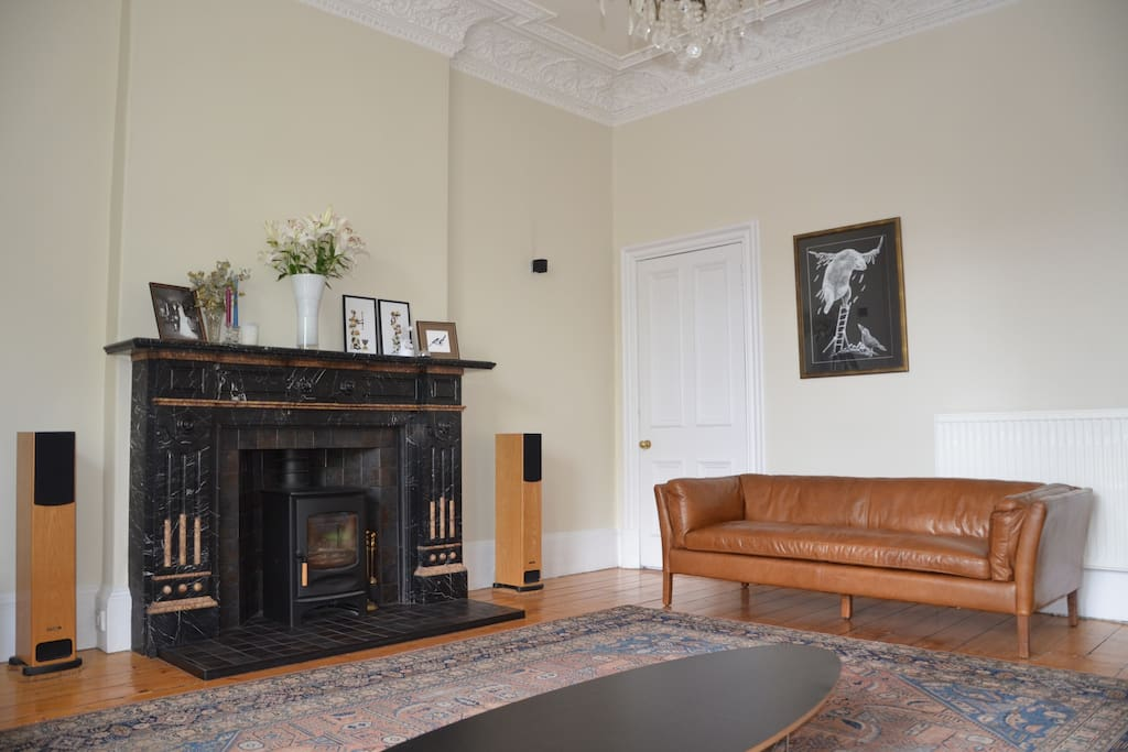 Wood burning stove located in living room