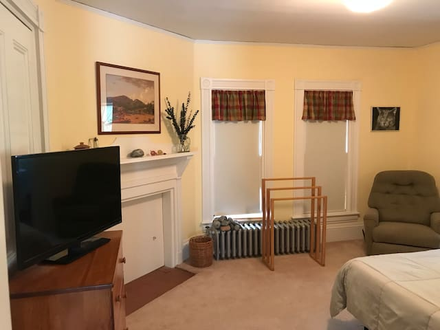 Master bedroom (queen bed, half bath, closet, and TV).