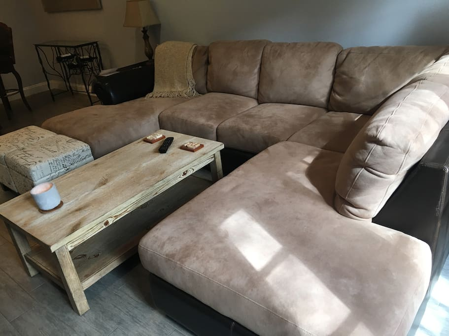Incredibly comfortable suede sectional
