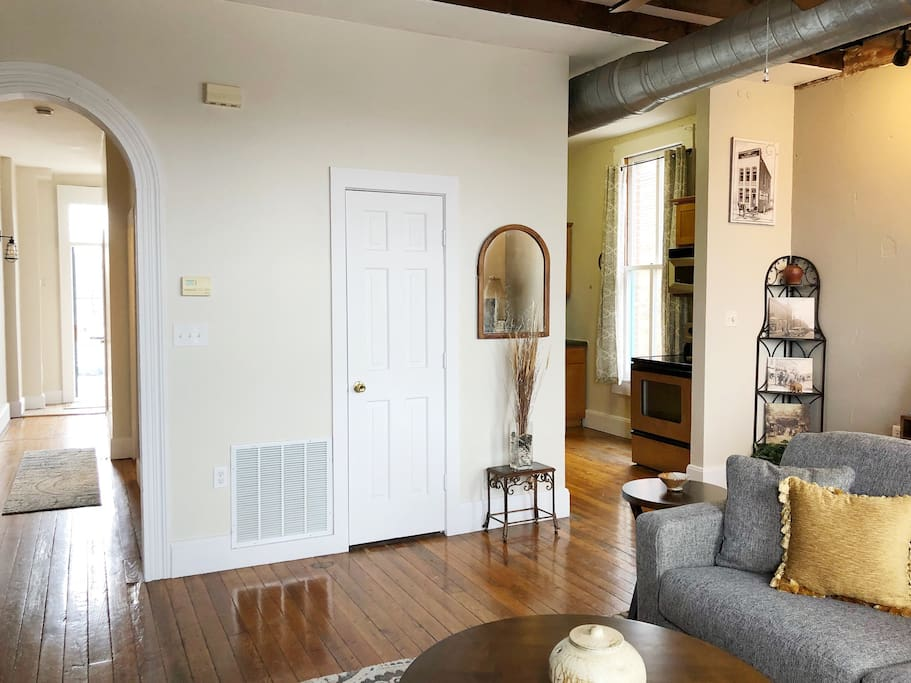 This arched doorway is a reminder of the building's history.