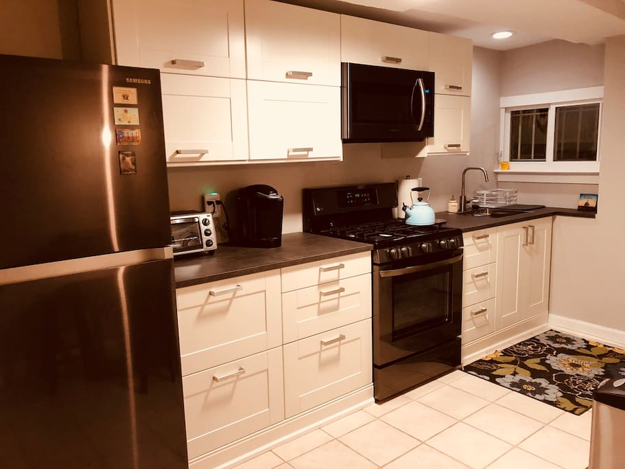 Brand new kitchen (gas stove), fully loaded if you want to stay in and cook!