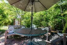 Comfortable patio seating for conversation, reading or quiet work