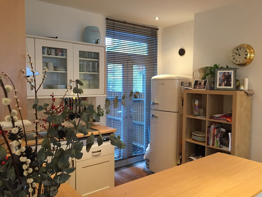 Open plan kitchen area with access to small rear garden