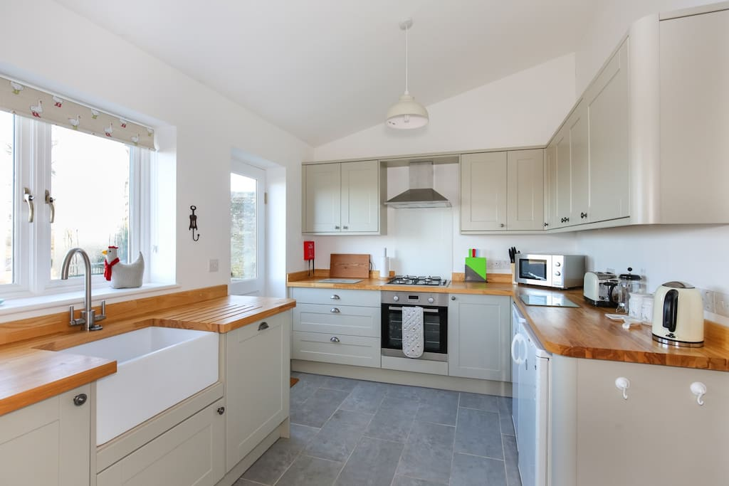 Brand new kitchen, with stunning view over Frome and the countryside
