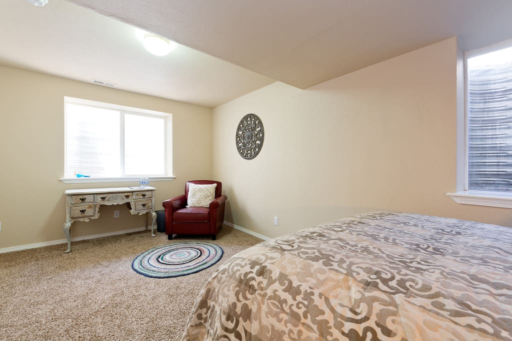 The bedroom provides plenty of space to arrange your things.  A mini fridge provides a private space to store items needing refrigeration.
