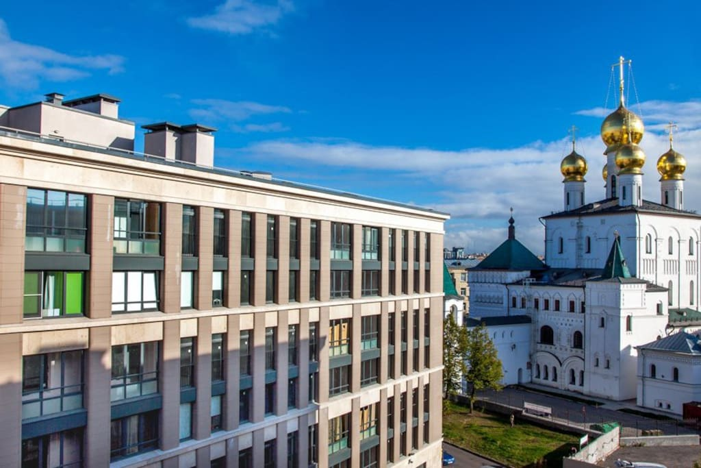 Your residential complex - next to beautiful church and antique red brick fence.  Жилой комплекс у церкви.